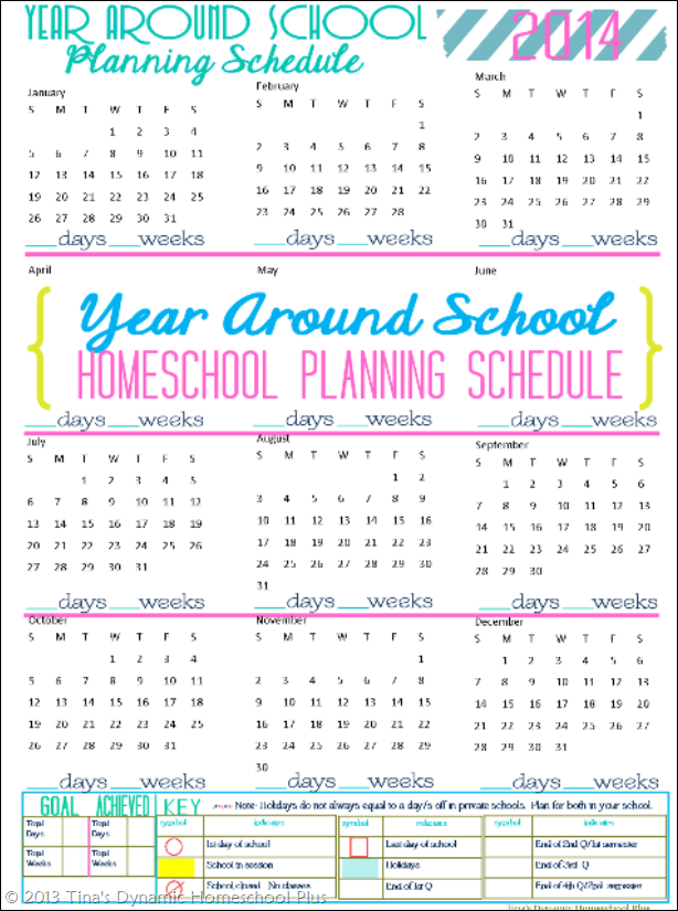 2014 Physical Year Around Homeschool Schedule CP thumb Free 2014 Year Around Homeschool Planning Schedule