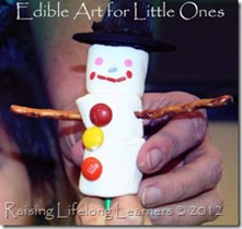 Edible Winter Snowman thumb 50 Keep Me Homeschooling Activities During the Long Cold Winter Days