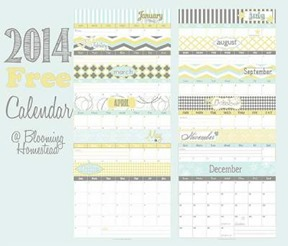 Free 2014 Printable Calendar thumb 50 Keep Me Homeschooling Activities During the Long Cold Winter Days
