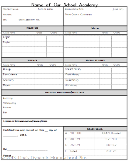 Homeschool transcript template out of darkness for Free high school transcript template