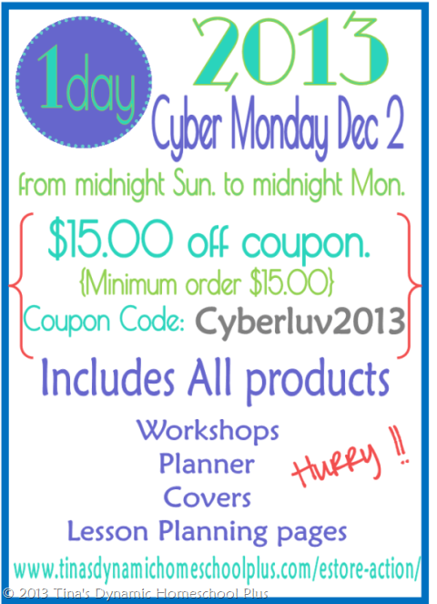 CP Cyber Monday Tinas Dynamic Homeschool Plus thumb Cyber Monday for YOU. Begins at midnight. 1 Day Only!