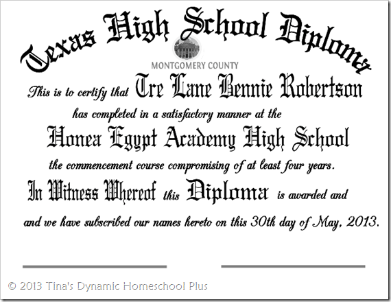 Homeschool Diploma High School Graduation