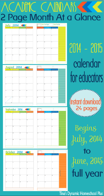 2 Pages Per Month At A Glance Academic Calendar is Ready! Rainbow Notions.