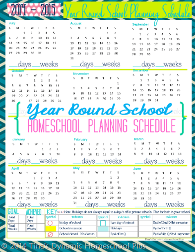 Year Round Homeschool Planning Schedule – Free Form