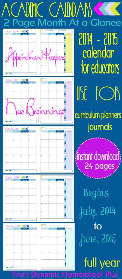 Curriculum Planner – 2 Pages Per Month At A Glance Academic Calendar. New Beginnings Color