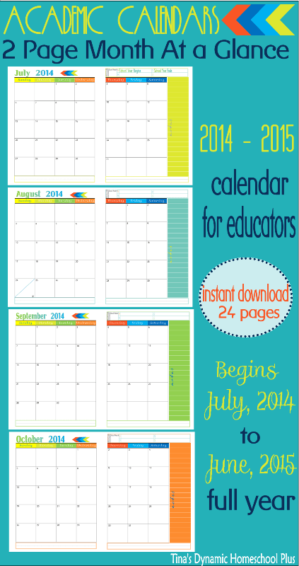 2 Page Month At A Glance Academic Calendars1 Curriculum Planner   2 Pages Per Month At A Glance Academic Calendar. New Beginnings Color