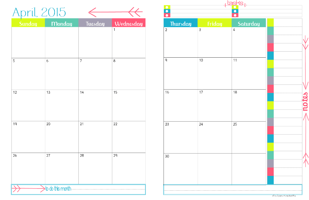 Monthly Calendar Template For 2015 2015 Printable Monthly Calendar