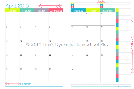 2015 Physical Year Calendar