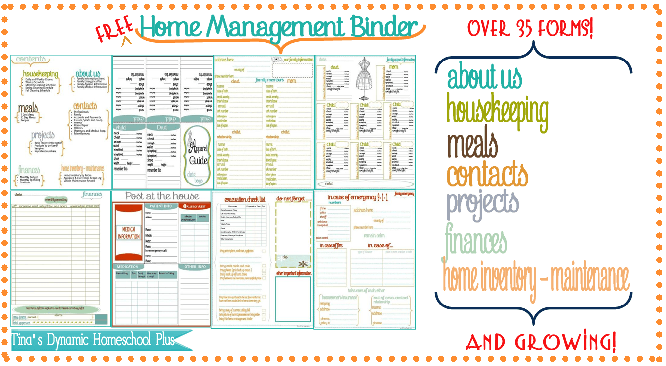 Click Here to go to My Home Management Binder.