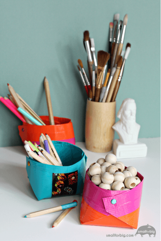 Diy homeschool organizing with duct tape organize luv for Mini duct tape crafts