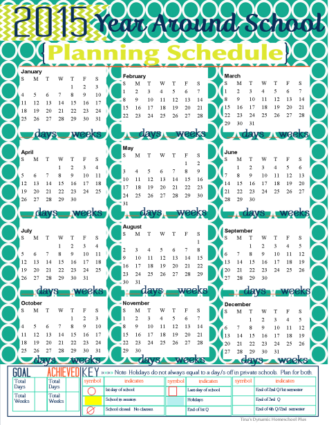 2015 Year Around Planning Schedule thumb 2015 Year Around Homeschool Planning Schedule