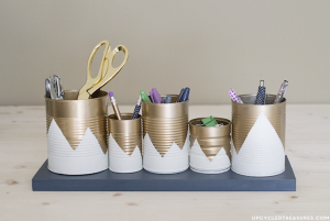 Tin Can School Supply Holders