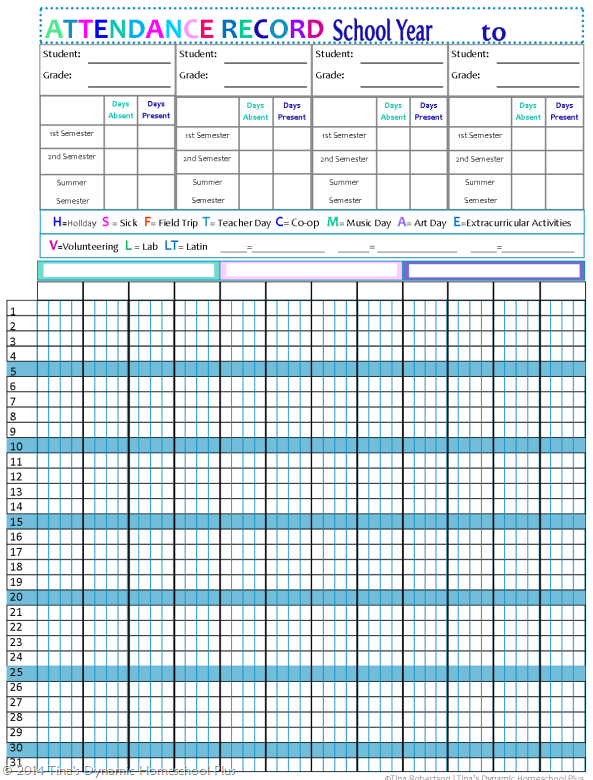 Updated Homeschool Attendance Forms – Printable Attendance Sheet for Teachers