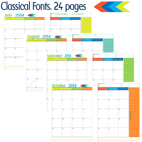2 Page Month At A Glance Academic Calendars Collage Back Cover Curriculum Planner
