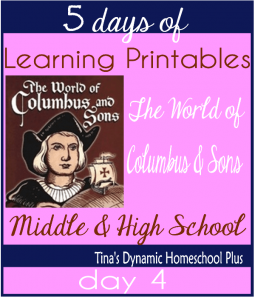 5 Days Of Learning Printables About the World of Columbus and Sons day 4