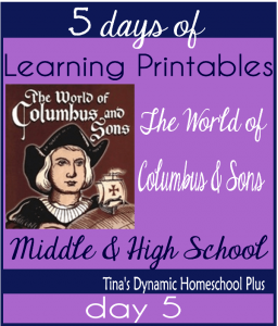5 Days Of Learning Printables About the World of Columbus and Sons day 5
