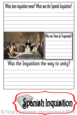 Spanish Inquisition thumb 5 Days of Learning Printables:The World of Columbus and Sons Day 5 For Middle and High School