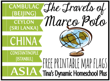 Free Printable Map Flags Marco Polo @ Tina's Dynamic Homeschool Plus