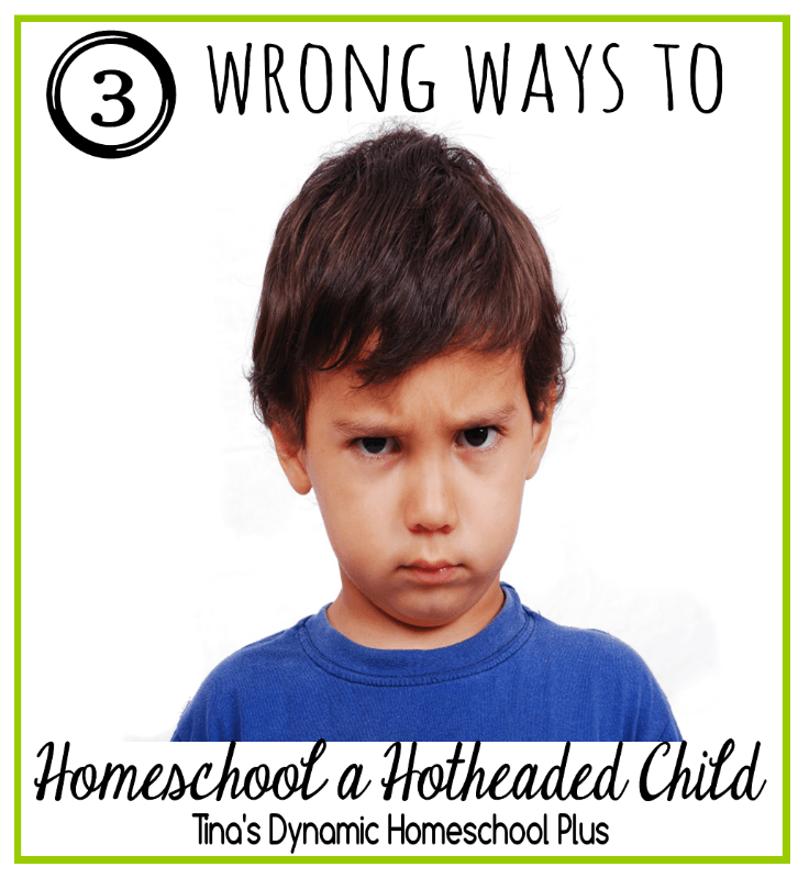 3 Wrong Ways to Homeschool a Hotheaded Child @ Tina's Dynamic Homeschool Plus