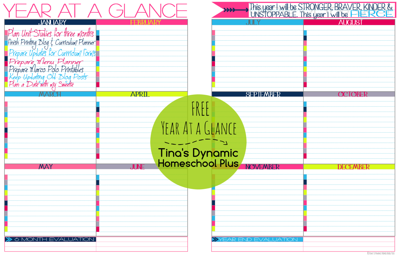 Free year at a glance form for Year at a glance template for teachers