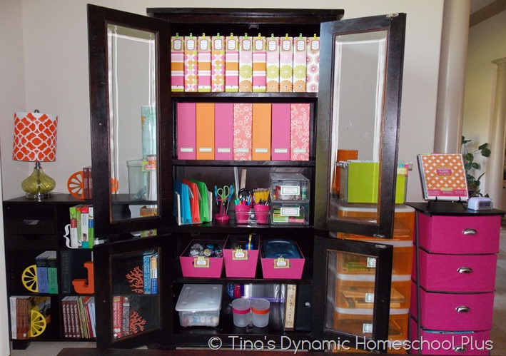 Organized Homeschool Room in a Dining Room