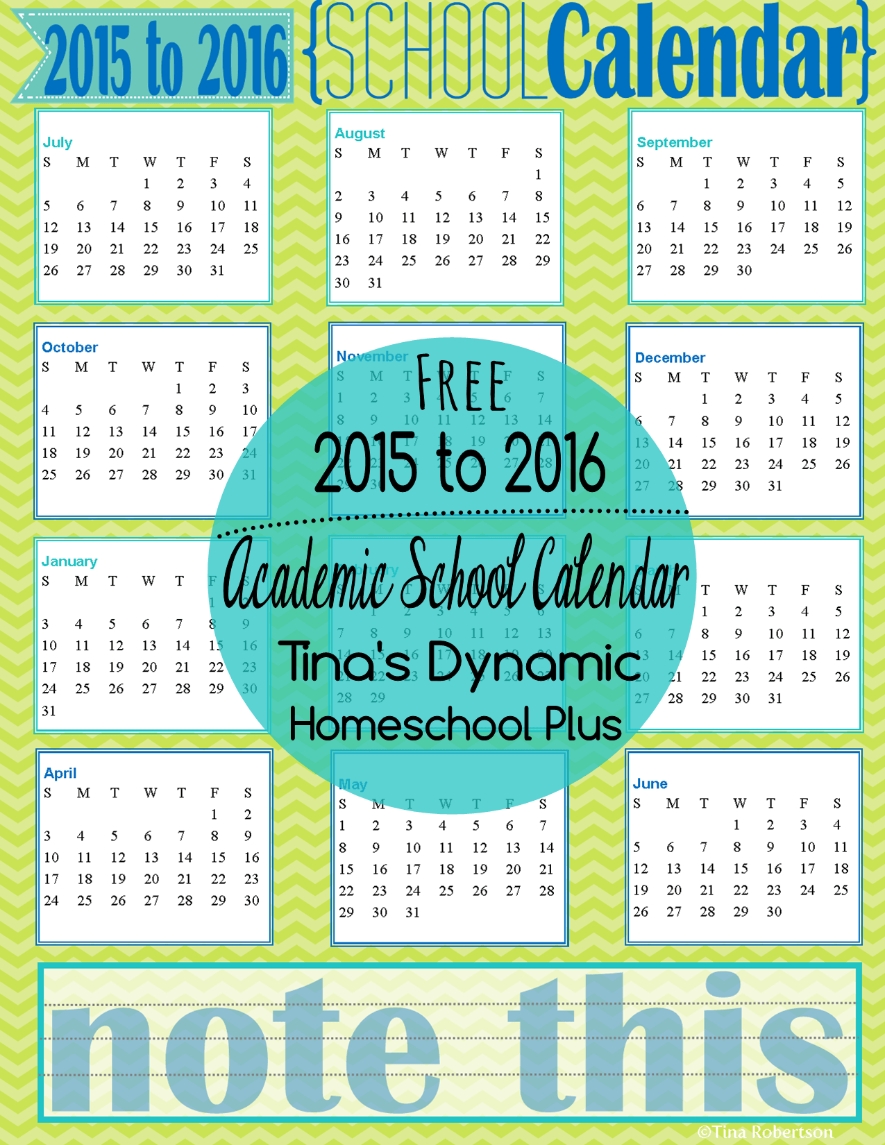 school year printable calendar
