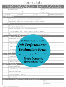 Teen Job Performance Evaluation Collage @ Tiina's Dynamic Homeschool Plus