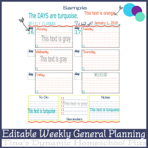Editable Weekly General Planning Weekly Page  600x @ Tina's Dynamic Homeschool Plus