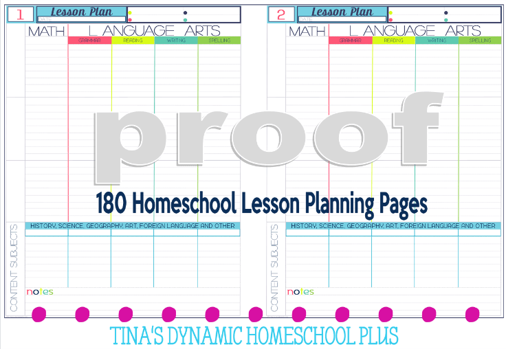 Homeschool Lesson Planning Pages