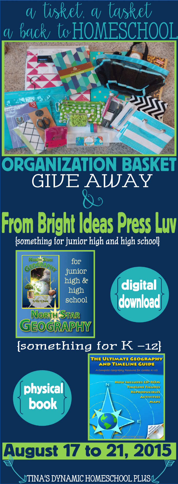 Homeschool Organization A Back to School Basket Worth Swooning Over @ Tinas Dynamic Homeschool Plus