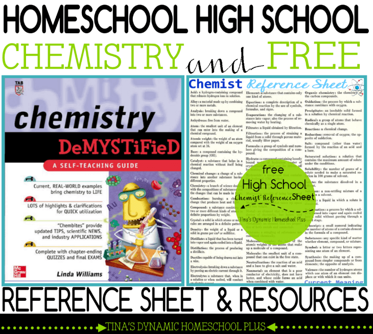Homeschool High School Chemistry & Free Reference Sheet and Resources @ Tina's Dynamic Homeschool Plus