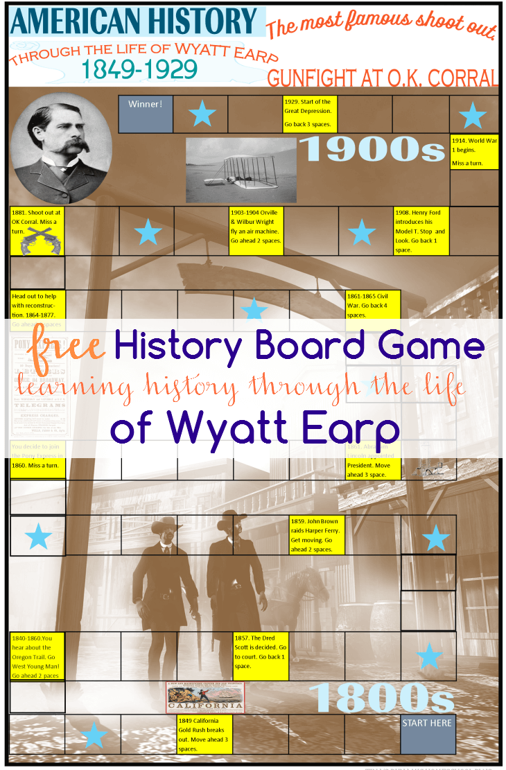 FREE PRINTABLE HISTORY BOARD GAME – LEARNING AMERICAN HISTORY THROUGH THE LIFE OF WYATT EARP by Tina's Dynamic Homeschool Plus.