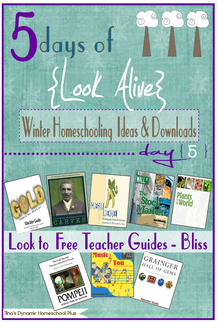 5 Days of Look Alive Winter Homeschooling. Day 5. Free Teacher Guides @ Tina's Dynamic Homeschool Plus