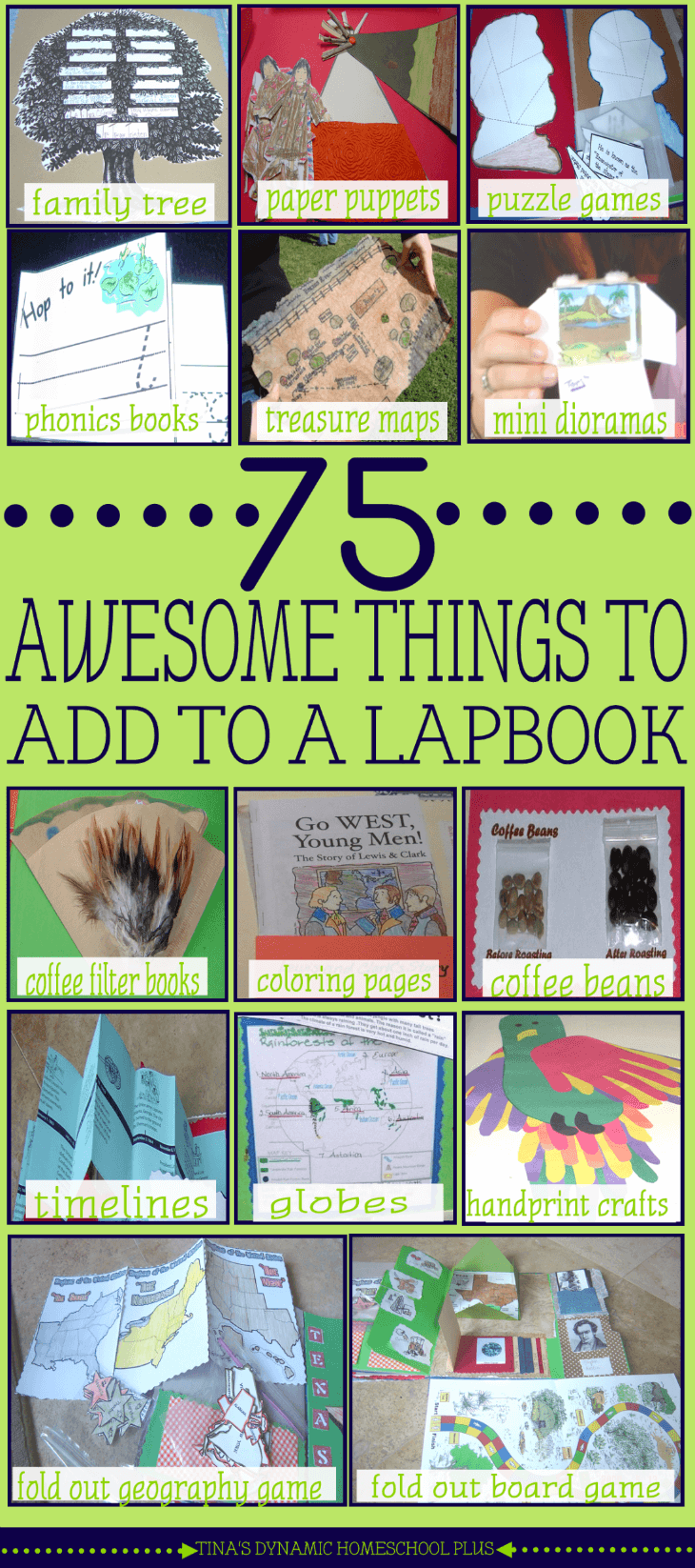 75 AWESOME THINGS TO ADD TO A LAPBOOK