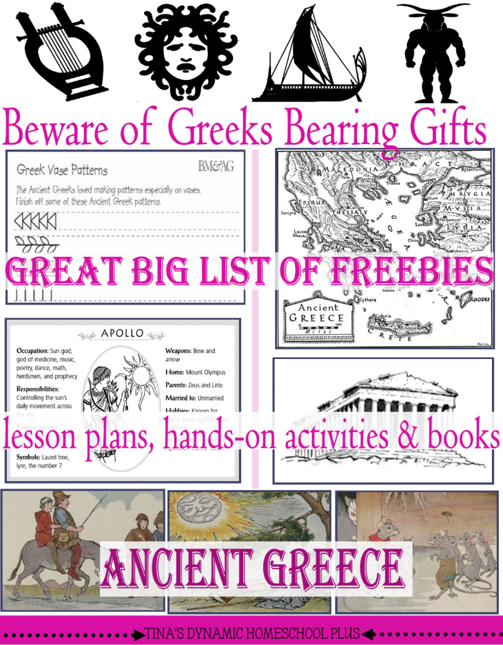 Ancient Greece Big List of Freebies, Hands-On Ideas and Resources @ Tina's Dynamic Homeschool Plus