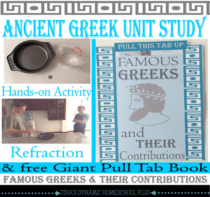 Ancient Greece Unit Study refraction activity and Ancient Greeks Pull Tab book @ Tina's Dynamic Homeschool Plus