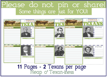 Famous Texans Notebooking Pages - Tina's Dynamic Homeschool Plus