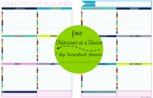 Free Objectives at a Glance Form @ Tina's Dynamic Homeschool Plus
