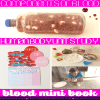 What is blood hands on activity and free blood components minibook for a human body homeschool unit study @ Tina's Dynamic Homeschool Plus featured