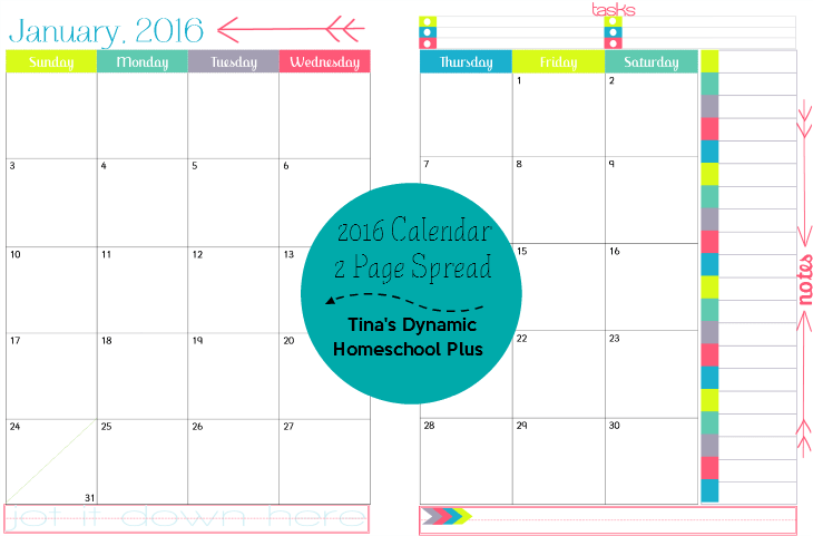 2016 2 page per month physical year - Dreaming @ Tina's Dynamic Homeschool Plus