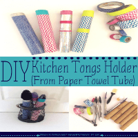 DIY Kitchen Tongs Holder (From Paper Towel Tube) featured