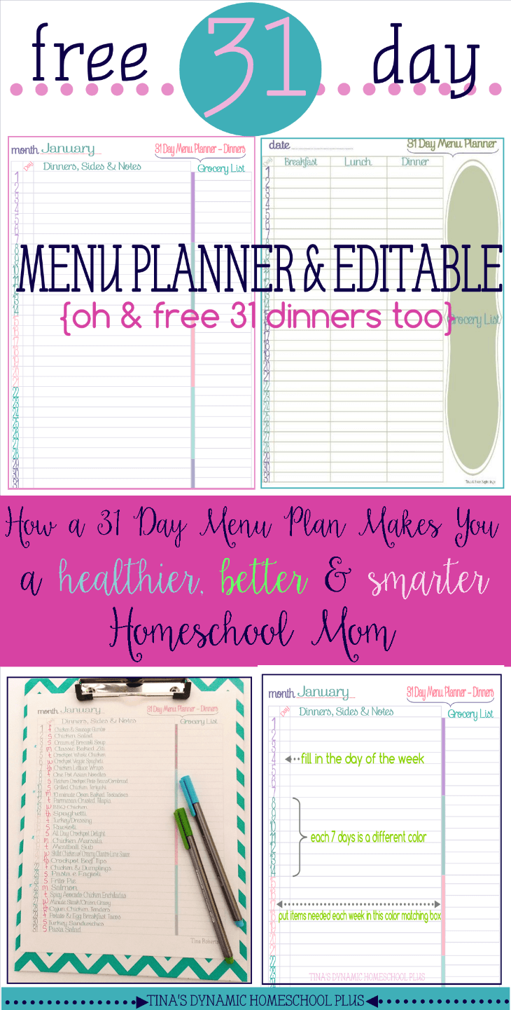 Free 31 Day Menu Plan Makes Me Bettter Homeschool Mom