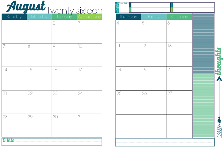 2016 to 2017 Turquoise Candy 2 page per month academic calendar 2