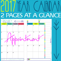 2017 Physical Year Calendar Dreaming 2 Pages at a Glance @ Tina's Dynamic Homeschool Plus featured