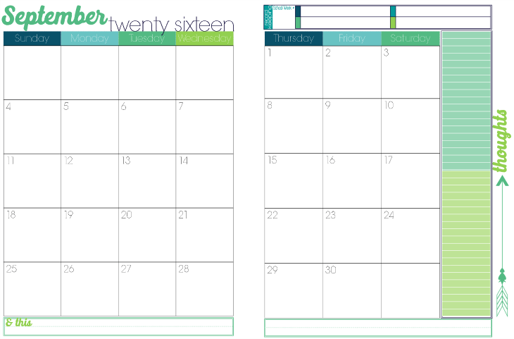 3 2016 to 2017 Turquoise Candy 2 page per month academic calendar 3