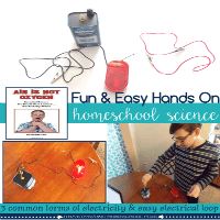 Easy hands-on homeschool electricity science activity @ Tina's Dynamic Homeschool Plus featured