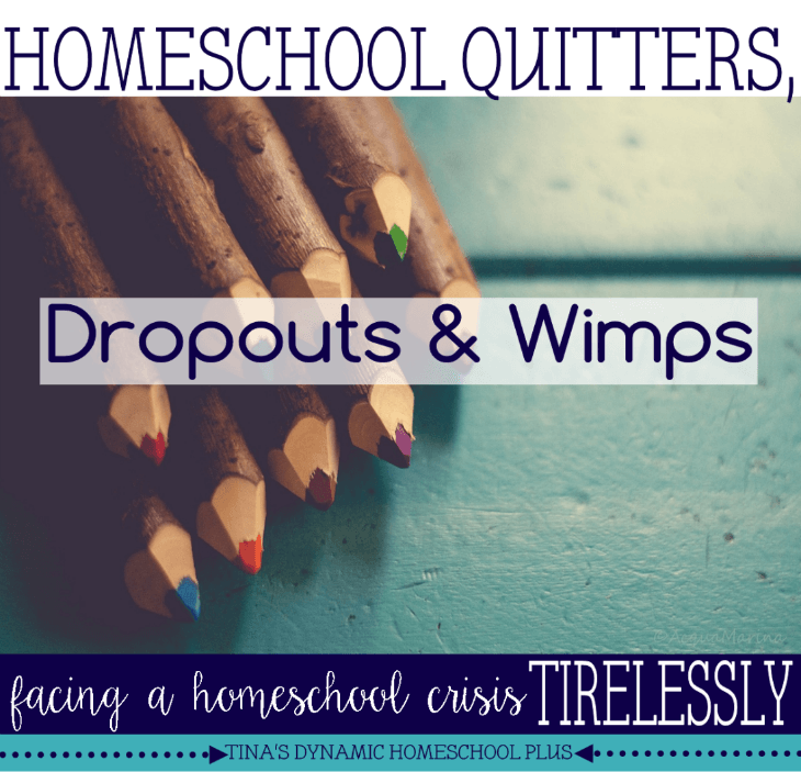 Homeschool Quitters, Dropouts and Wimps. Facing a homeschool crisis tirelessly.