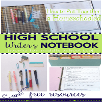 How to Put Together a Homeschooled High School Writer's Notebook and Free Resources featured
