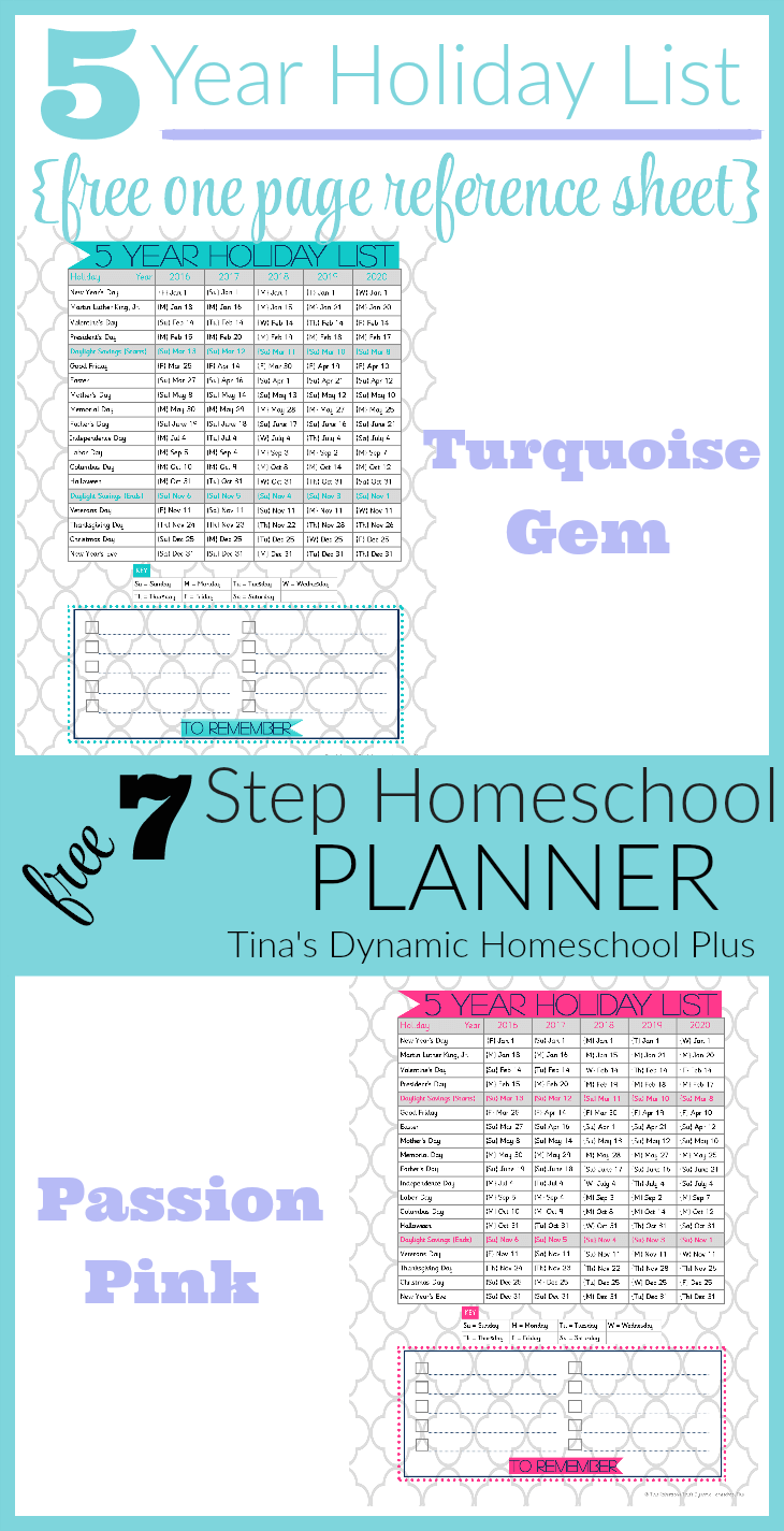 5 Year Holiday List @ Tina's Dynamic Homeschool Plus