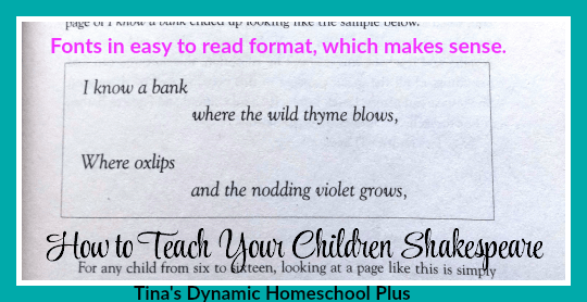Fonts in easy to read format on How to Teach Your Children Shakespeare @ Tina's Dynamic Homeschool Plus